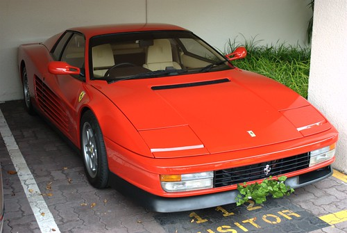 Ferrari Testarossa in our apartment block parking lot