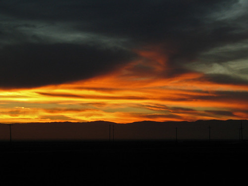 Sunset along Interstate 5, Central California