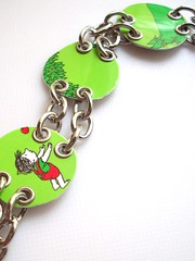The giving tree bracelet (Jupita) Tags: green set book funky jewelry charm bracelet wearableart giftcard givingtree ecofriendly upcycled trashion plasticcard jupita recyycled borderscard