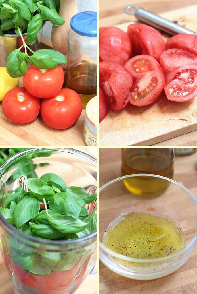 Préparation soupe de tomate au basilic