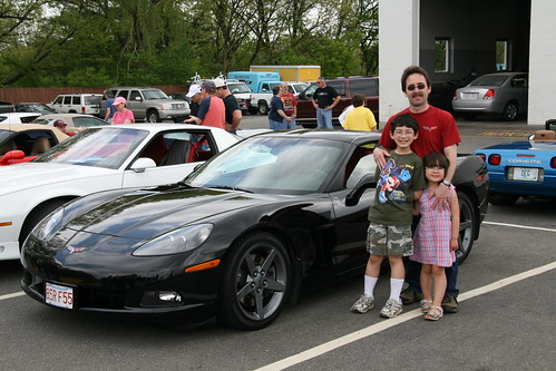 Dad, kids and Corvette