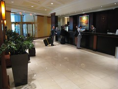 The somewhat uninspiring foyer of our hotel, the Hilton Boston Back Bay (chailey) Tags: boston ernest