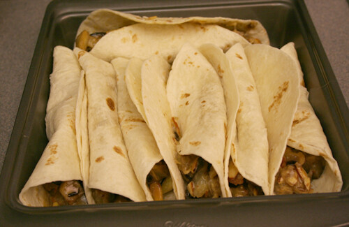 All the stuffed tortillas in the pan