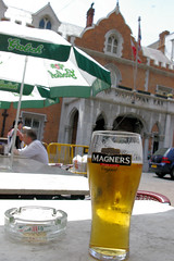 A Beer In Front Of The Guvs House (cwgoodroe) Tags: ocean uk england costa sun lighthouse london castle sol beach beer del square airplane colorful europe wind gib military mosque bobby zane pint gibraltar runway policestation fishandchips territory instalation gibralter moneky fedra europapoint airtower angryfriar 3sheets zanelampry corgovesselsummer vesselcollision