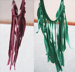dark pink & aqua fringe necklaces ...DIY T-shirts