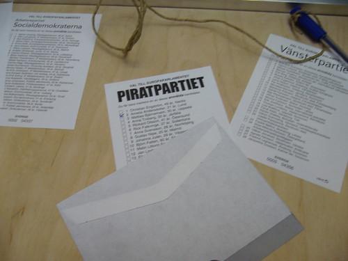 Röstsedel för Piratpartiet