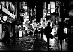 rainy night (Noisy Paradise) Tags: street city longexposure light shadow urban monochrome rain japan night tokyo blackwhite shinjuku neon sigma explore   blackdiamond   dp2  flickrsbest blackrain artlibres artlegacy sigmadp2 noisyparadise