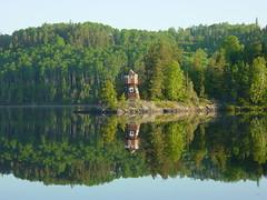 Lighthouse at Hawkeye Lake. (Thunder Bay Nature) Tags: morning summer lighthouse lake water calm hawkeye bigmomma challengeyouwinner friendlychallenge achallengeforyou beautifulworldchallenges challengefactorywinner thechallengefactory herowinner pregamewinner ultraherochallenge