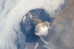 Amazing Sarychev Volcano - as seen from space (NASA Goddard Photo and Video) Tags: clouds flow island volcano glory explosion science nasa ash aerosol eruption iss plume measurement pyroclastic matua sarychev