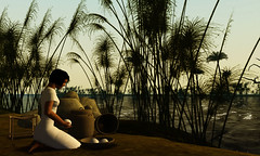 Servant girl kneeling by the Nile (vintagedept) Tags: egypt nile npc ancientegypt amarna virtualexperience servantgirl heritagekey nonplayercharacter kingtutvirtual