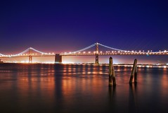 Stars over the Bay Bridge (Jim Nix / Nomadic Pursuits) Tags: ocean sf sanfrancisco california ca longexposure travel bridge blue sea sky water beautiful architecture night stars lights evening bay nikon twinkle sparkle photoblog pacificocean nighttime baybridge sanfran citybythebay nightimage nomadicpursuits gpsetest
