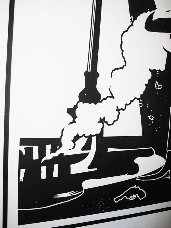 Artwork detail, smoking gun, graphic print