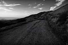 (kh-photos ~ Kurt ~) Tags: california road sunset bw mountain clouds hills sfbayarea bwprocessingwithsilverefexpro