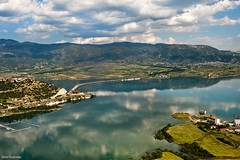 (Nick-K (Nikos Koutoulas)) Tags: bridge lake reflection water clouds landscape photo nikon air nikos greece f28 photomap 3570mm     kozani   velvento  d700        gvr1 koutoulas