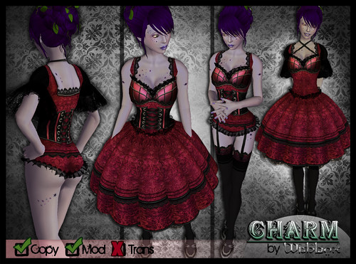 Charm EGL Fantasy Dress with Lingerie (Ruby)
