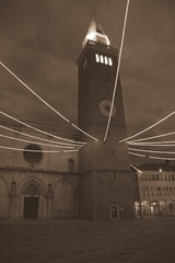 Light strings holding the bell tower (bostjan_rudolf) Tags: light belltower 1870mmf3545g sephia koper titovtrg