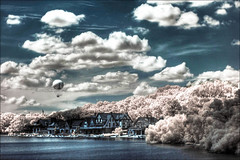 Dreamy (darth_bayne) Tags: philadelphia water clouds 50mm pennsylvania pa canon350d infrared hotairballoon dreamy hdr boathouserow kayaks hoyar72 brucewberryjr darthbayne