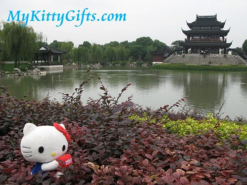 Hello Kitty Sunbathing in the bushes at a Garden behind HanShan Temple, SuZhou