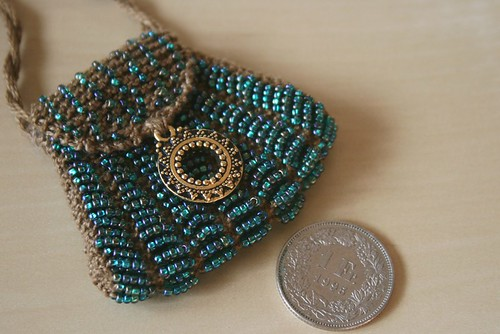 knitted bag with beads