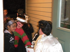 Elvis Hands out Candy to Freddy Krueger