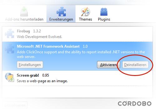 "Uninstall ""Microsoft  Net Framework Assistent"" Firefox add-on – Cordobo"