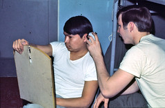 Cheap Haircut PFC Richards & Spc Magolin 1973 (smata2) Tags: canon germany army europe military scanned 70s soldiers 1970s ektachrome scannedphoto usarmy westgermany schweinfurt scannedphotos canonf1 3rdinfantrydivision 3rdid 703rd connbarracks d703rdmaintenance