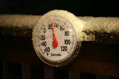 Welcome to spring, Chicago style (Mickey B. Photography) Tags: camera winter snow chicago storm cold west digital canon snowflakes rebel back illinois spring suburban mercury freezing deck aurora taylor april temperature thermometer railing dslr 31 canondslr 2009 tpc degrees flickrers dupagecounty wscf xti iwashavingabbqthenightbefore whenwillthesnowend phototakenonmydeck tpcu18 tpcu18l1