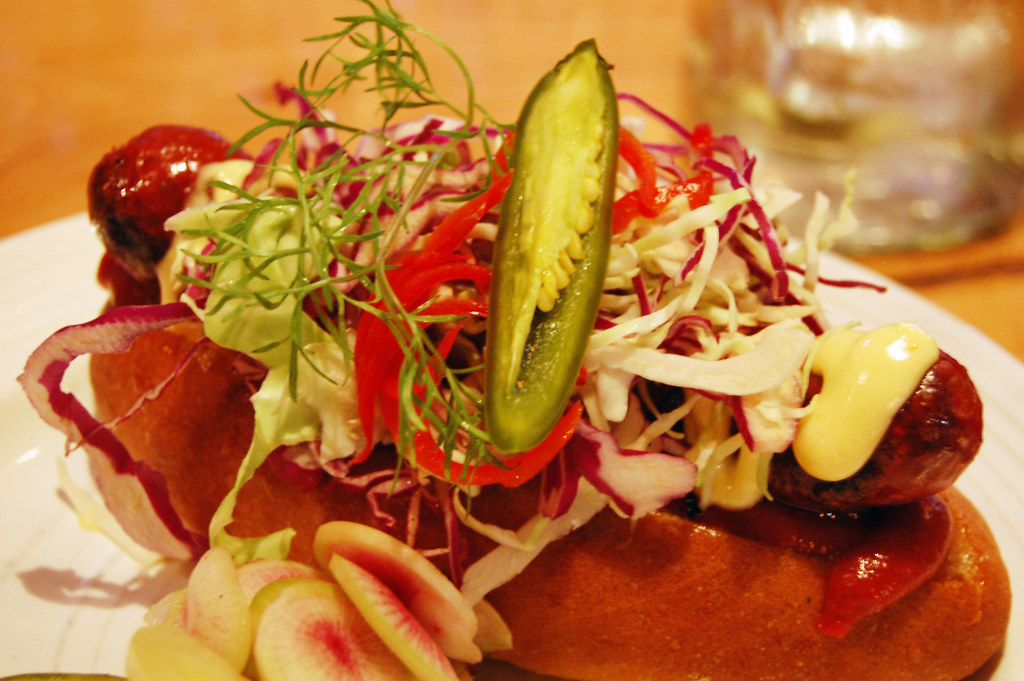 The Linkery San Diego Mexi-Dog - 100% pastured beef, wrapped in hand made bacon smoked over California Red Oak