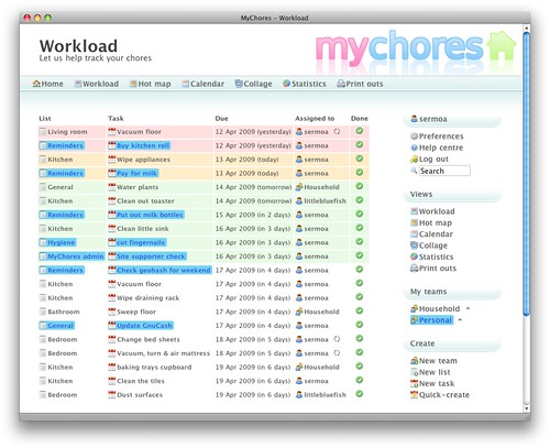 A preview of how MyChores might look