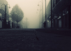Before the morning comes.. (Che-burashka) Tags: street morning trees urban mist london monochrome weather silhouette fog person spring empty broadway documentary gettys sx bexleyheath greaterlondon locallondon masterpiecesoflightdark katianosenko
