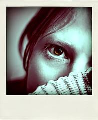 232:365 (KayVee.INC) Tags: sf sanfrancisco california ca white selfportrait black girl face myself polaroid fan greeneyes hide greeneye photoaday 2009 cavey project365 kayvee kayveeinc selectivegreen 270409