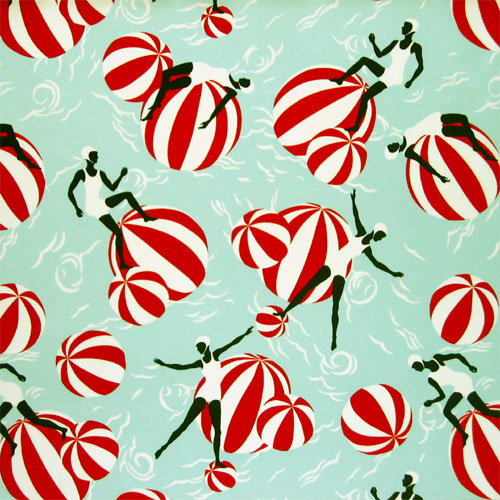 silk print with beach balls and swimmers