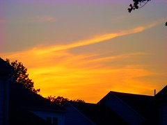 Sunset (ears737) Tags: houses sunset sky orange plants sun tree nature leaves silhouette set clouds lens outside outdoors natural kodak easy rise share z8612is 36432mm