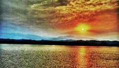 HDR (Sandeep Gupta Photography) Tags: morning sky orange lake mountains reflection water colors yellow clouds sunrise canon golden experiment 1855 hdr 400d