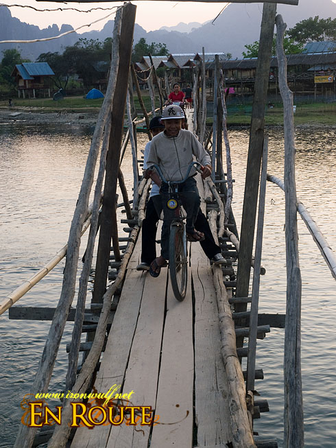 Vang Vieng Bridge Crossing