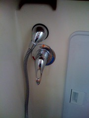Shower mixer and nozzle mount