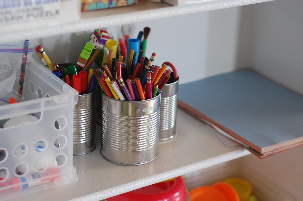 After: Play Area - kid's art supplies