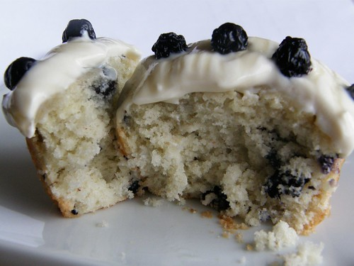 Cross section of Blueberries and Cream Cupcake