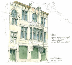 Liège, Victor Rogister, architecte (gerard michel) Tags: architecture sketch belgium aquarelle watercolour liège croquis rogister