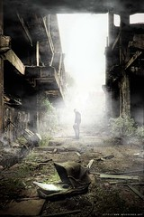 La fin d'un monde (never ends) Tags: world baby white france men fog sepia illustration war decay destruction abandon urbanexploration pollution end fin monde guerre blanc staircases escalier pram brume abandonned wasteland urbex fume landau landeau friche