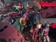Zartan's Secret (Dudesnbots) Tags: brown crimson toys track cobra rip joe it transformers joker viper diorama gi autobot decepticon serpentor