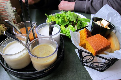 Dressings, salad and homemade breads