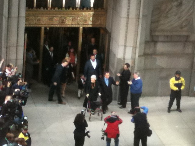 Mayor Daley leaving the City Hall for last time