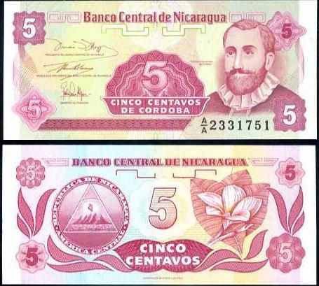 5 Centavos Nikaragua 1991, Pick 168