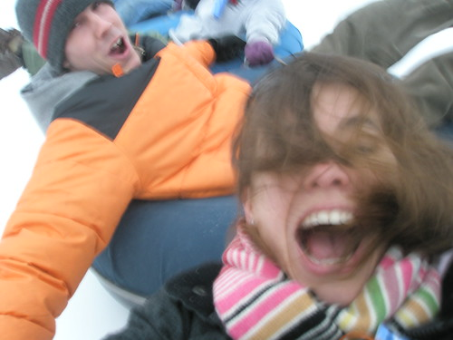 Snow tubing self portrait