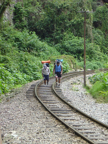 Back-packers on their way to Aguas Calientes and Machu Picchu