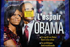 L'espoir Obama (Hughes Lglise-Bataille) Tags: usa paris france poster israel us sticker war palestine protest demonstration barak michele express 2009 obama manif manifestation gaza affiche autocollant palestinian hamas espoir palestiniens