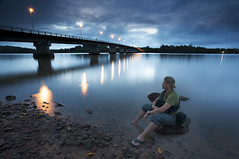 Exploring the shore (I've been tagged) (Erick Loitiere) Tags: sunset selfportrait rain canon river pont 5d bluehour paysage guyane frenchguiana heurebleue canonef1740mmf4l roura guyanefranaise singhray mahury infinestyle erickloitire ricoliki explore5thankyou