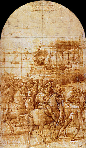 1503  Raphael    Model for the Journey of Enea Silvio Piccolomini to Basle  Pen and brown ink, brush and brown wash  70,5x415 cm  Florence, Gabinetto dei disegni e delle stampe