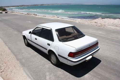 Our car near the Geraldton Lighthouse